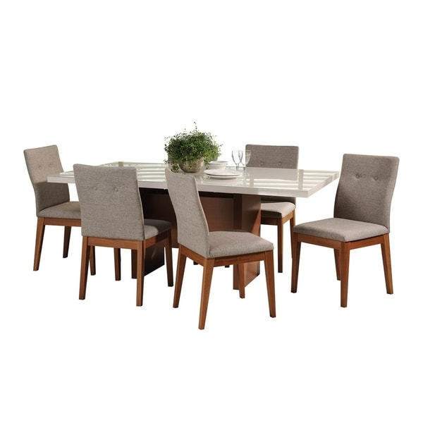 7-Piece Dover 72.04 In. Table Leroy Dining Set with 6 Dining Chairs