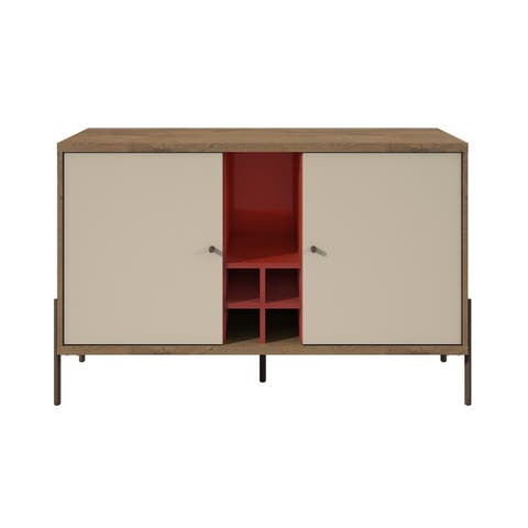 Manhattan Comfort Joy 4-Bottle Wine Buffet Stand in Red and Off White