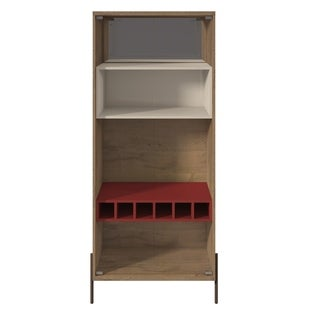Manhattan Comfort Joy 8-Bottle Wine Cabinet with 4 Shelves in Red and Off White