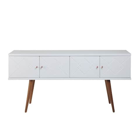 """Manhattan Comfort Trinity 59.84"""" Mid- Century Modern Sideboard with Solid Wood Legs in White Gloss"""