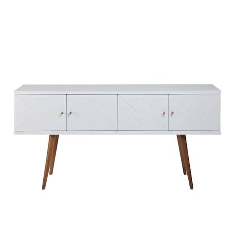 "Manhattan Comfort Trinity 59.84"" Mid- Century Modern Sideboard with Solid Wood Legs in White Gloss"