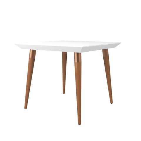 Utopia 35.43 In. Modern Beveled Square Dining Table with Glass Top