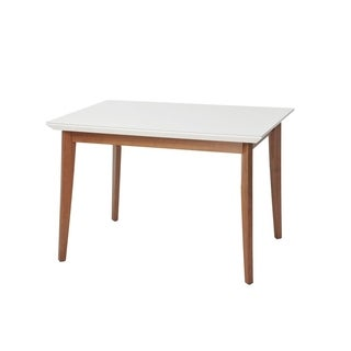 Lillian 45.66 In. Modern Glass Top Dining Table with Solid Wood Legs
