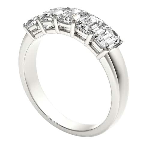 Seraphina 18k Gold 2ct TDW 5-stone Emerald Cut Diamond Ring