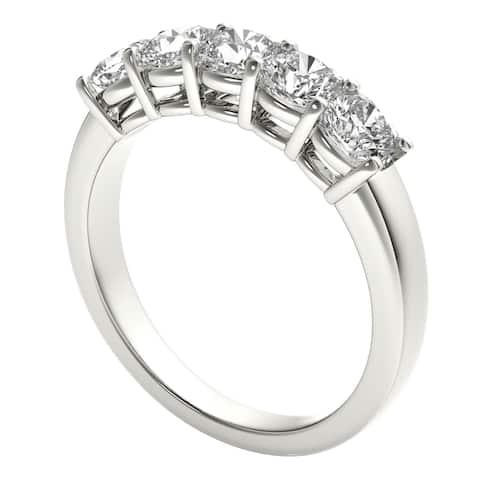 Seraphina Platinum 1 1/2ct TDW 5-stone Cushion Cut Diamond Ring