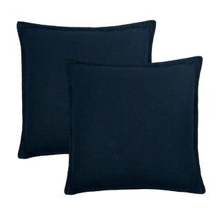 Sherry Kline Frisco Linen Dark Blue Reversible 20-inch Decorative pillow (set of 2)