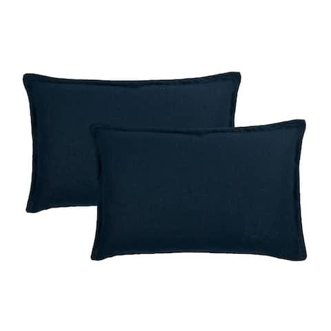 Sherry Kline Frisco Linen Dark Blue Reversible Boudoir Decorative pillow (set of 2)