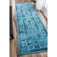 """nuLOOM Turquoise Traditional Vintage Inspired Overdyed Floral Area Rug - 2' 6"""" x 12'"""