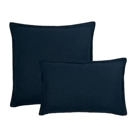 Sherry Kline Frisco Linen Dark Blue Reversible Combo Pillow