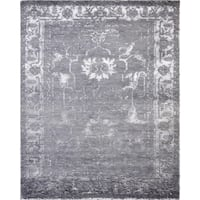 """Silk fusion collection grey hand-knotted Bamboo Silk rug (9' x 12') - 9' 0"""" x 12' 0"""""""