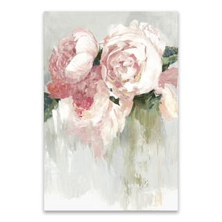 """""""Peonies"""" Hand Embellished Canvas - 24W x 36H x 1.5D - Multi-color"""