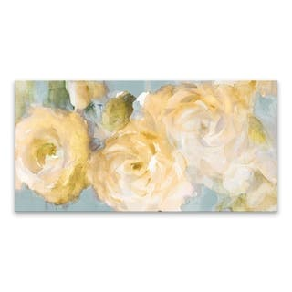 """""""Yellow Blooms on Blue"""" Hand Embellished Canvas - 40W x 20H x 1.5D - Multi-color"""