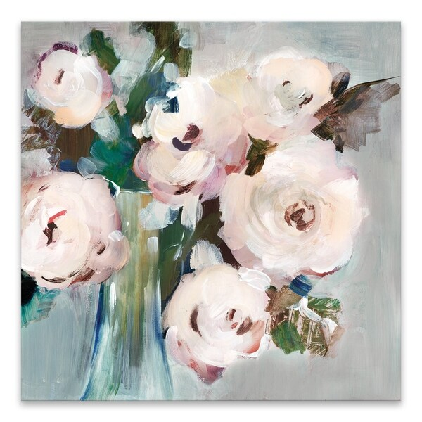 """Pale Pink Bouquet I"" Hand Embellished Canvas - 27W x 27H x 1.25D - Multi-color"