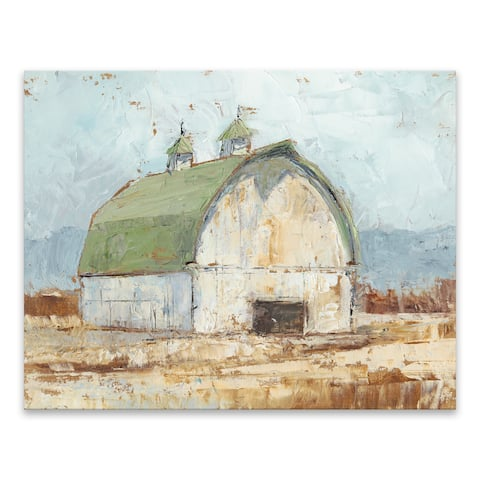"""Whitewashed Barn III"" Hand Embellished Canvas - 28W x 22H x 1.25D - Multi-color"