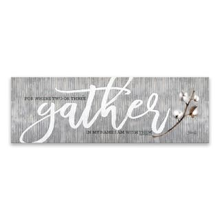 """""""For Where Two or Three Gather"""" Printed Canvas - 24W x 8H x 1.25D - Multi-color"""