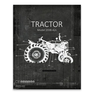 """""""Industrial Farm Tractor 2"""" Printed Canvas - 16W x 20H x 1.25D - Multi-color"""