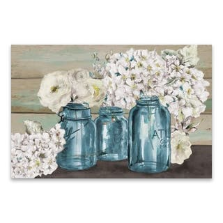 """""""Colorful Flowers in Mason Jar"""" Hand Embellished Canvas - 36W x 24H x 1.25D - Multi-color"""