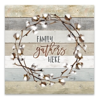 """""""Family Gathers Here Cotton Wreath"""" Printed Canvas - 16W x 16H x 1.25D - Multi-color"""