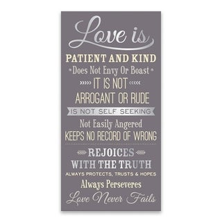 """Love is Patient Gray"" Printed Canvas - 15W x 30H x 1.25D"