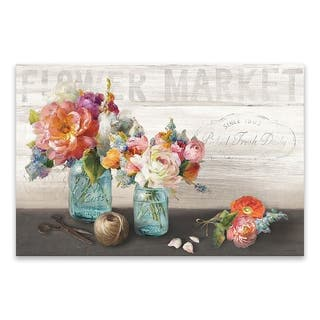 """""""French Cottage Bouquet III"""" Printed Canvas - 35W x 23H x 1.25D - Multi-color"""