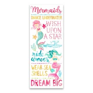"""Mermaids Typography"" Printed Canvas - 8W x 20H x 1.25D - Multi-color"