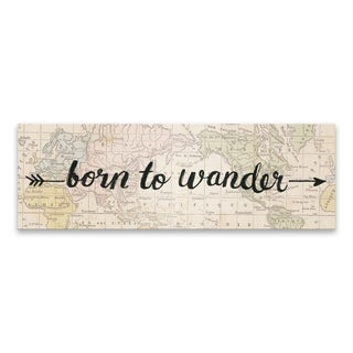 """""""Born To Wander"""" Printed Canvas - 36W x 12H x 1.25D - Multi-color"""