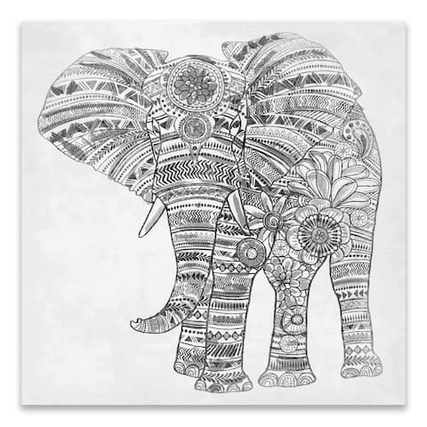 """Elephant Walk"" Printed Canvas - 18W x 18H x 1.5D - Black/White"