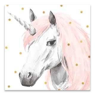 """Pink Unicorn"" Printed Canvas - 18W x 18H x 1.25D - Multi-color"