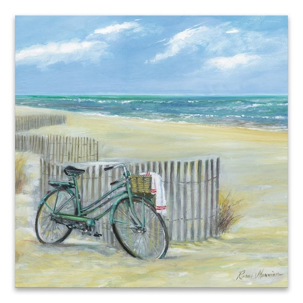 """""""Bike to the Beach"""" Printed Canvas - 18W x 18H x 1.25D - Multi-color"""