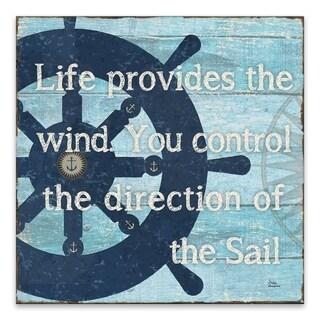 """""""Sail"""" Printed Canvas - 18W x 18H x 1.25D - Blue"""