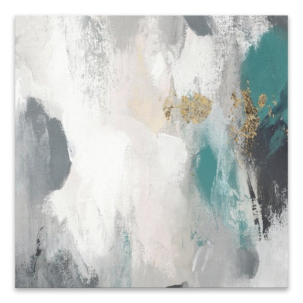 """""""Gray Days II Teal Version"""" Hand Embellished Canvas - 35W x 35H x 1.5D - Multi-color"""