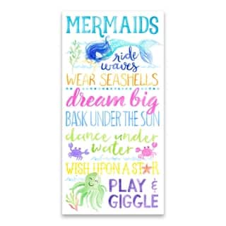 """""""Mermaid Typography"""" Embellished Canvas - 12W x 24H x 1.25D - Multi-color"""