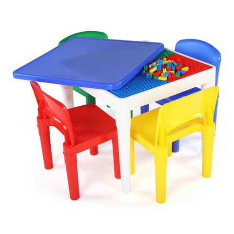 2-in-1 Plastic Activity Table & 4 Chairs, Primary