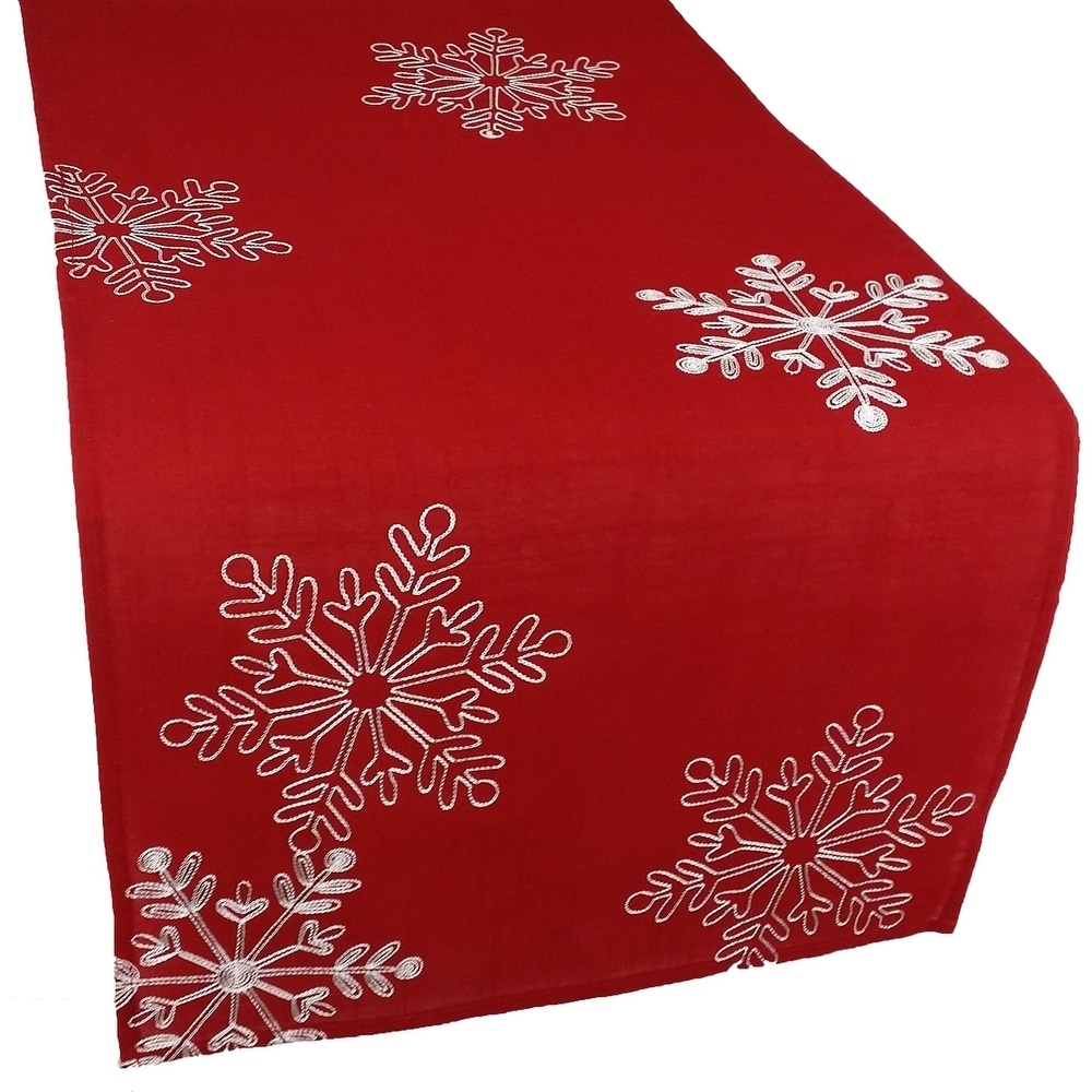 Christmas Red Table Runner Embroidered