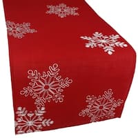 Christmas Red Table Runner Embroidered With White Snowflakes,  15 by 90-Inch