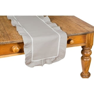 Ruffle Trim Taupe with White Lace Table Runner, 16 by 72-Inch