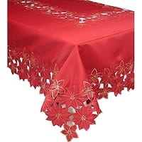 Festive Poinsettia Embroidered Cutwork Holiday Tablecloth, 60 by 84-Inch
