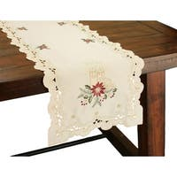 Golden Glow Embroidered Cutwork Christmas Table Runner, 16 by 36-Inch
