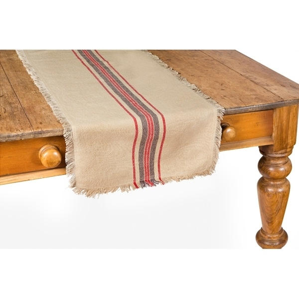 Superieur Natural Linen Stripe Table Runner, 16 By 36 Inch
