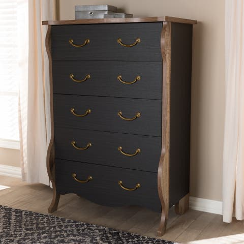The Curated Nomad Taliesin Country Cottage Black and Oak 5-drawer Chest