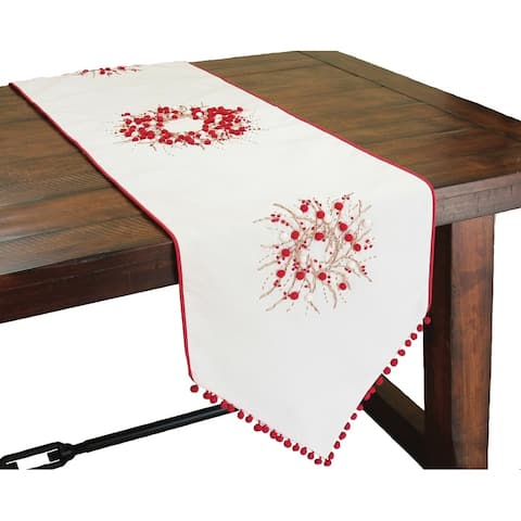 Holiday Berry Wreath Ribbon and Pom Pom Embroidered Double Layer Table Runner, 16 by 54-Inch