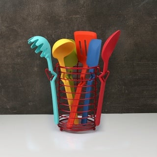 Fiesta 7 Piece Silicone Utensil Set with Wire Caddy