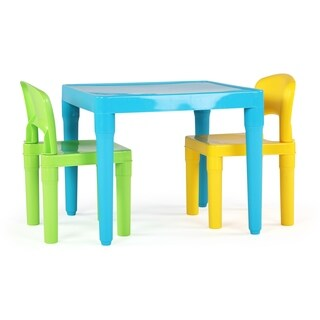 Plastic Table & 2 Chairs, Aqua/Green&Yellow