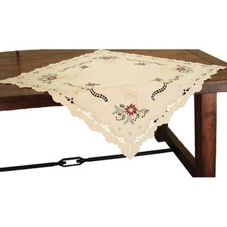 Golden Glow Embroidered Cutwork Christmas Table Topper, 36 by 36-Inch