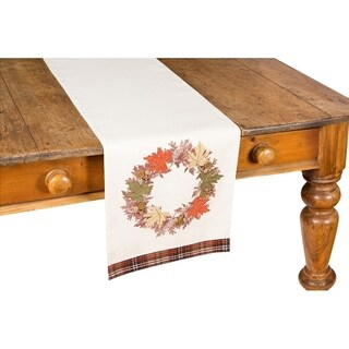 Maple Wreath Fall Table Runner, 13 by 36-Inch