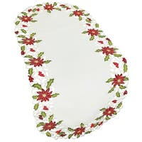 Poinsettia Lace Embroidered Cutwork Table Runner, 15 by 54-Inch