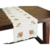 Holly Berry Embroidered Collection Table Runner, 15 by 54-Inch