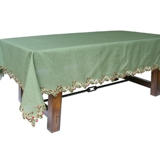 Link to Holiday Holly Embroidered Cutwork Tablecloth, 60 by 84-Inch, Green Similar Items in Table Linens & Decor