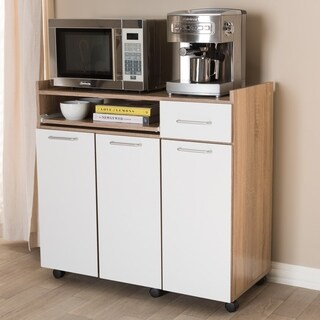 Contemporary White and Oak Brown Kitchen Cabinet by Baxton Studio