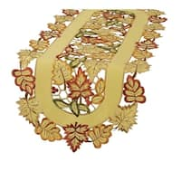 Bountiful Leaf Embroidered Cutwork Fall Table Runner, 15 by 90In